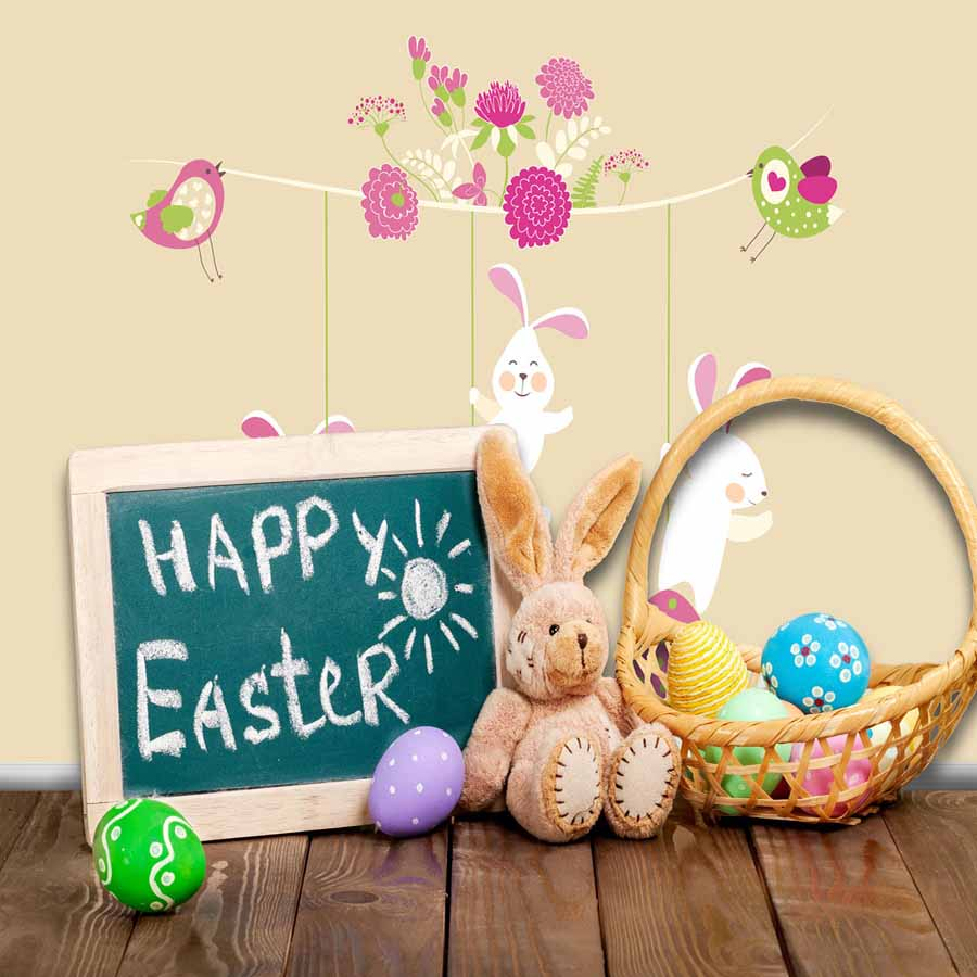 Fox Rolled Children Happy Easter Vinyl Photography Backdrop-Foxbackdrop