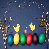 Fox Rolled Colorful Eggs Vinyl Easter Photo Backdrop-Foxbackdrop