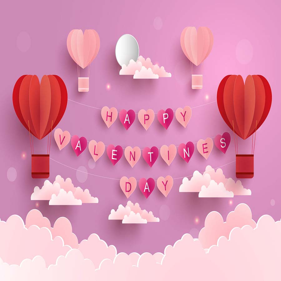 Fox Rolled Pink Happy Valentine's Day Vinyl Photo Backdrop-Foxbackdrop