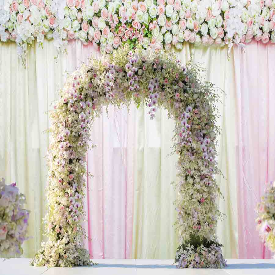 Fox Rolled White Pink Curtain Vinyl Wedding Backdrops-Foxbackdrop