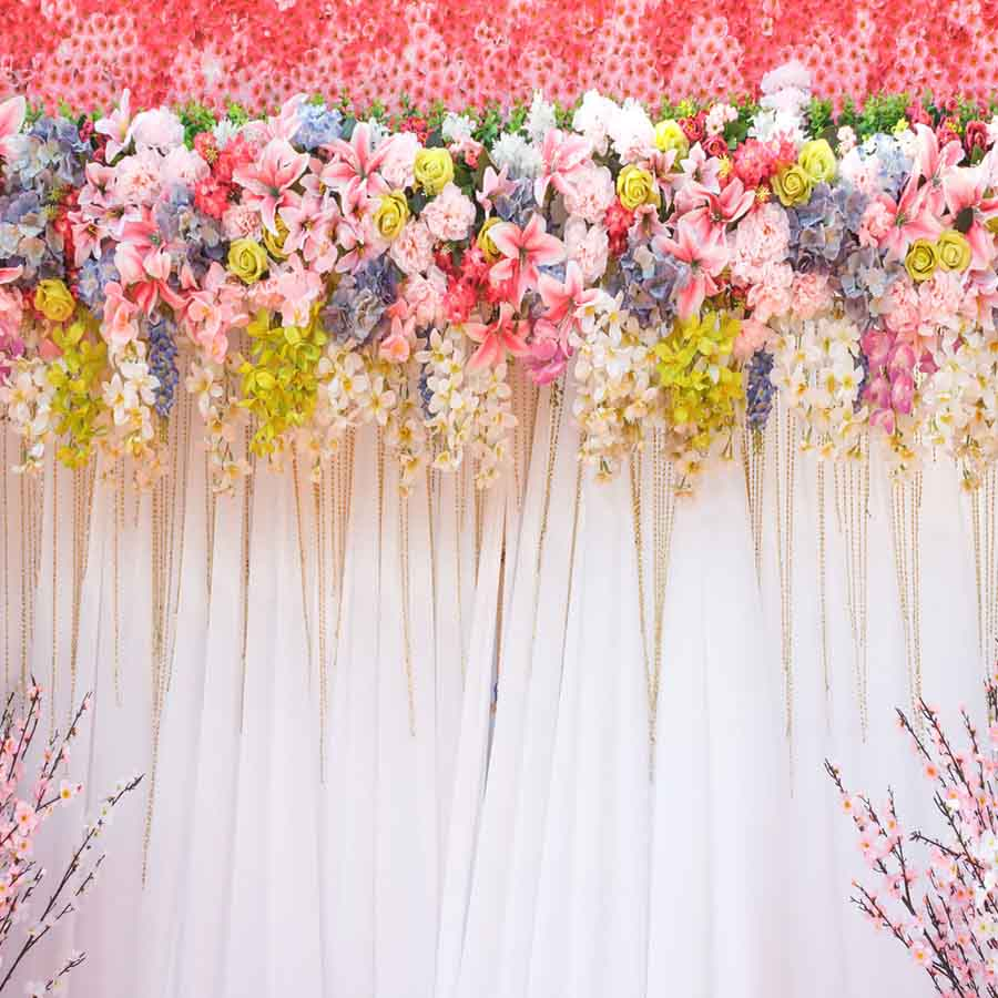 Fox Rolled Pink White Curtain Vinyl Wedding Backdrop