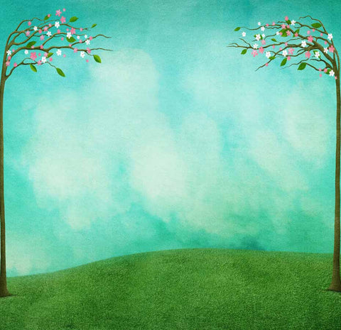 Fox Rolled Spring Grassland Vinyl Photography Backdrop