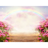 Fox Rolled Pink Flowers Rainbow Vinyl Photography Backdrop-Foxbackdrop