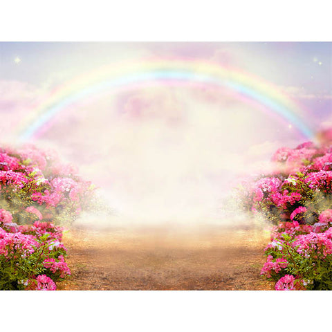 Fox Rolled Pink Flowers Rainbow Vinyl Photography Backdrop