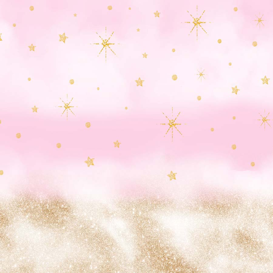 Fox Rolled Vinyl Pink With Golden Glitter Children Backdrop-Foxbackdrop
