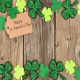 Fox Rolled St. Patrick's Day Wood Green Leaves Vinyl Backdrop-Foxbackdrop