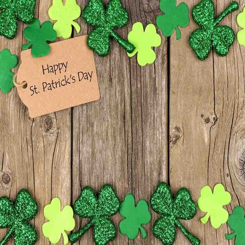 Fox Rolled St. Patrick's Day Wood Green Leaves Vinyl Backdrop