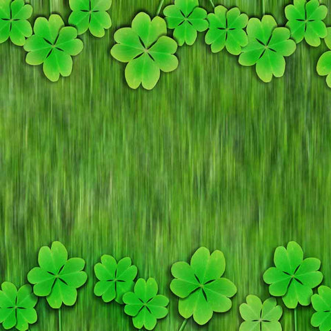 Fox Rolled St. Patrick's Day Green Clover Vinyl Backdrop