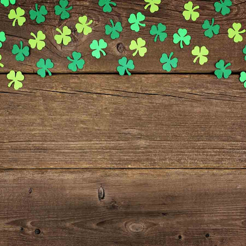 Fox Rolled Vinyl St. Patrick's Day Brown Wood Backdrop