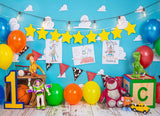 Fox Rolled Boy Toy Birthday Vinyl Backdrop Designed By Blanca Perez-Foxbackdrop