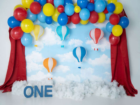 Fox Rolled Vinyl Boy Birthday Hot Air Balloon Sky Backdrop Design by Kali