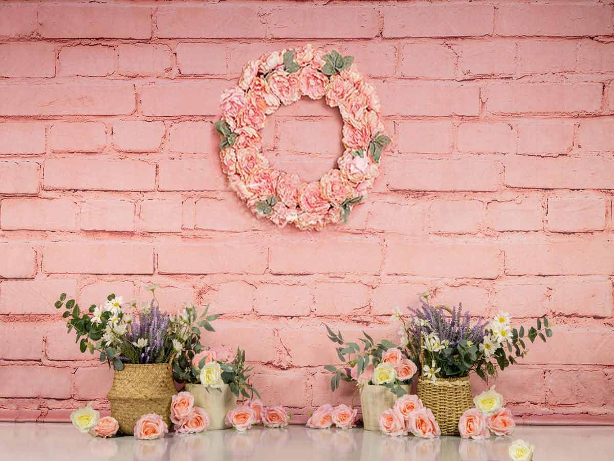 Fox Rolled Spring Pink Flowers Children Vinyl Backdrop Designed by Jia Chen-Foxbackdrop
