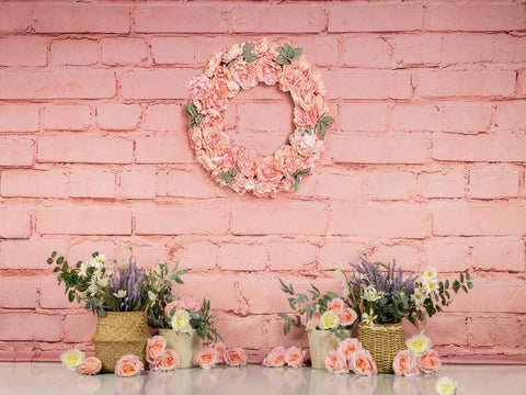 Fox Rolled Spring Pink Flowers Children Vinyl Backdrop Designed by Jia Chen