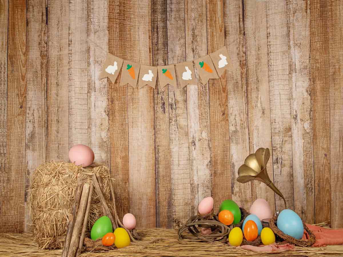 Fox Rolled Vinyl Eggs Easter Photography Backdrop Designed by Jia Chen-Foxbackdrop