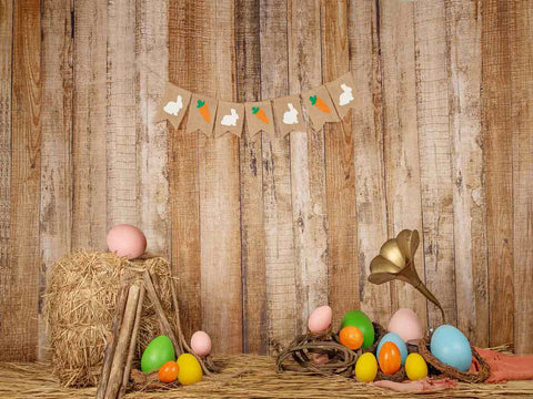 Fox Rolled Vinyl Eggs Easter Photography Backdrop Designed by Jia Chen