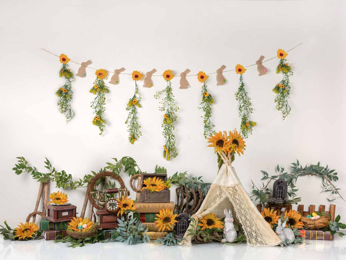 Fox Vinyl Rolled Spring Easter Egg Sunflowers Backdrop Designed by Jia Chen-Foxbackdrop