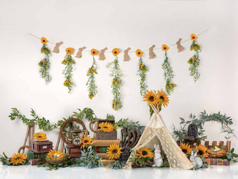 Fox Vinyl Rolled Spring Easter Egg Sunflowers Backdrop Designed by Jia Chen
