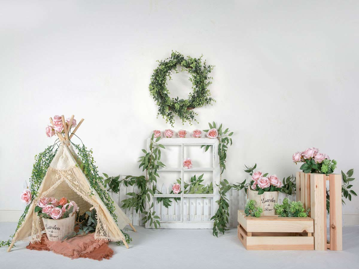 Fox Vinyl Rolled Spring Pink Flowers Photo Backdrop Designed by Jia Chen-Foxbackdrop
