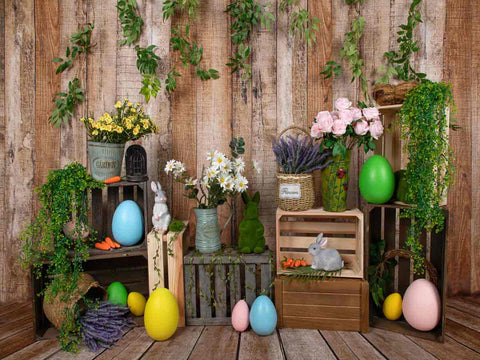 Fox Vinyl Rolled Easter Spring Photo Backdrop Designed by Jia Chen