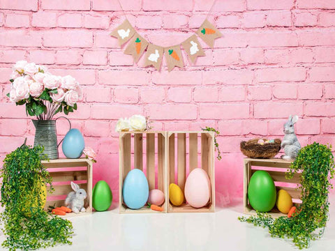 Fox Vinyl Rolled Easter Eggs Pink Photo Backdrop Designed by Jia Chen