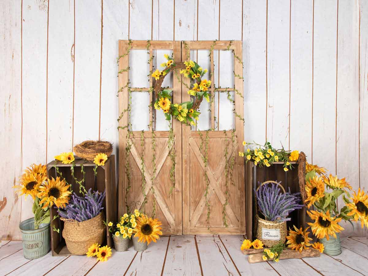 Fox Vinyl Rolled Spring Sunflowers Photo Backdrop Designed by Jia Chen-Foxbackdrop