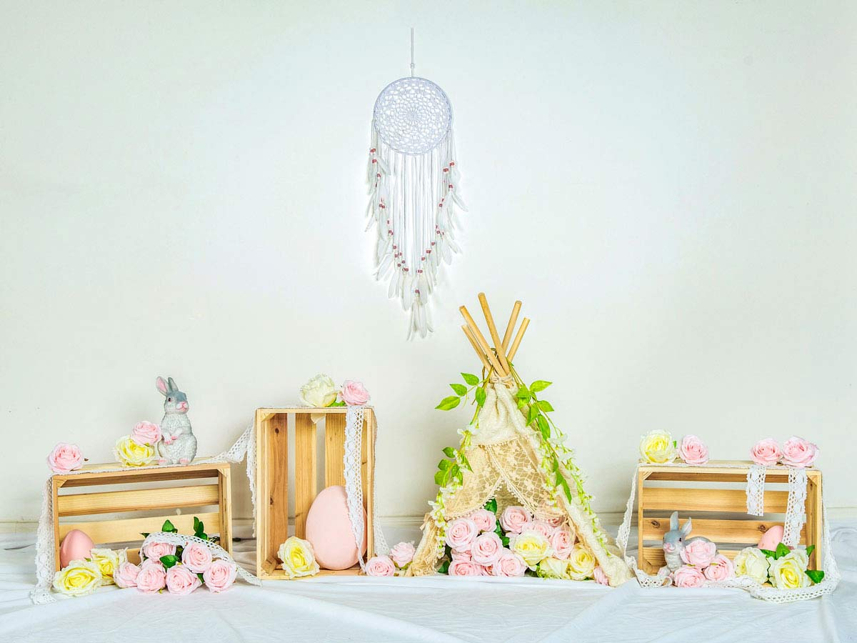 Fox Rolled Easter Flowers Spring Vinyl Photographic Backdrop Designed by Jia Chen-Foxbackdrop