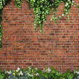 Fox Rolled Vinyl Green Leaves Red Brick Photo Backdrop-Foxbackdrop