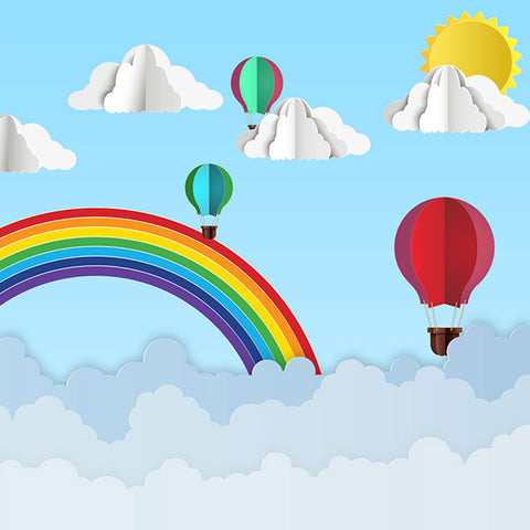 Fox Rolled Vinyl Rainbow Sky Hot Air Balloon Children Birthday Backdrop