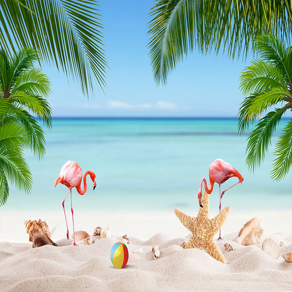 Fox Rolled Vinyl Summer Beach Holiday Photo Backdrop-Foxbackdrop