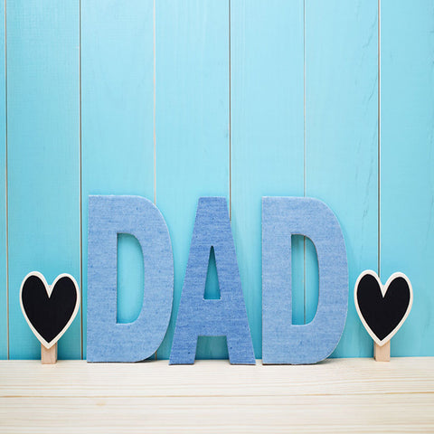 Fox Rolled Vinyl Dad Happy Father's Day Blue Backdrop