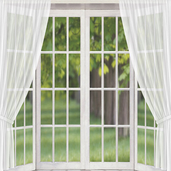 Fox Rolled Vinyl White Window Spring Photography Backdrop-Foxbackdrop