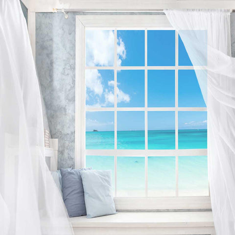 Fox Rolled Vinyl Summer Window Beach Holiday Backdrop