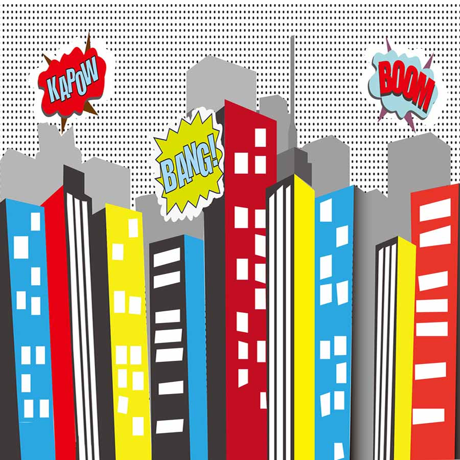 Fox Rolled Super Hero City Children Boy Vinyl Photo Backdrop-Foxbackdrop