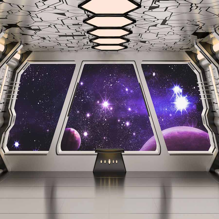 Fox Rolled Space Capsule Children Vinyl Photography Backdrop-Foxbackdrop