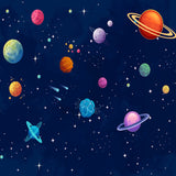 Fox Rolled Children Space System Planets Vinyl Backdrop-Foxbackdrop