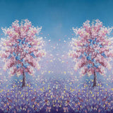 Fox Rolled Dreamy Flowers Trees Vinyl Children Backdrop-Foxbackdrop