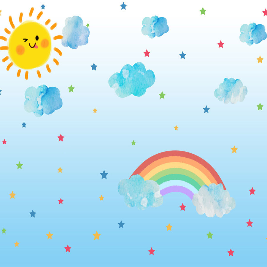Fox Rolled Vinyl Sky Blue Sun Cloud Rainbow Children Backdrop-Foxbackdrop