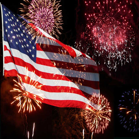 Fox 4th of July American Flag Fireworks Celebration Vinyl Backdrop
