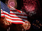 Fox 4th of July American Flag Fireworks Celebration Vinyl Backdrop-Foxbackdrop
