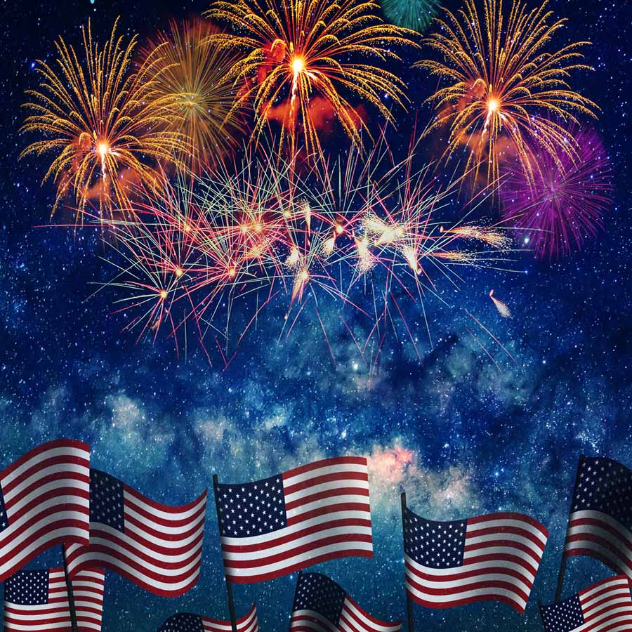 Fox American Flag 4th of July Firework Vinyl Backdrop-Foxbackdrop
