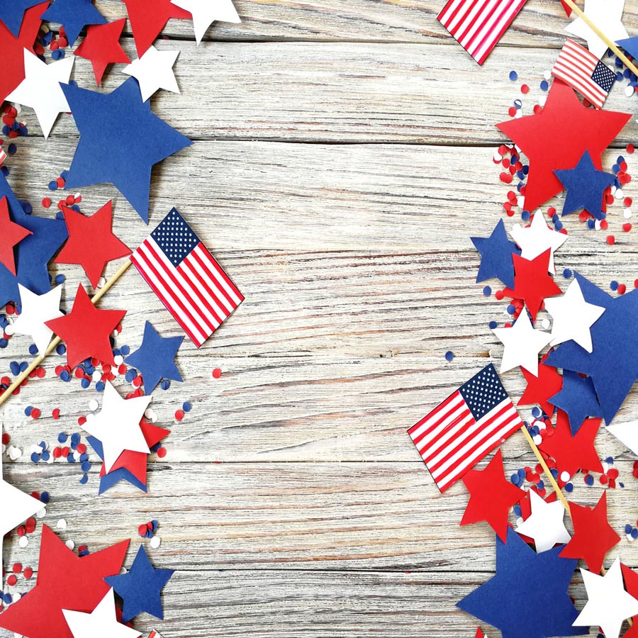 Fox 4 of July American Flag Vinyl Wood Backdrop-Foxbackdrop