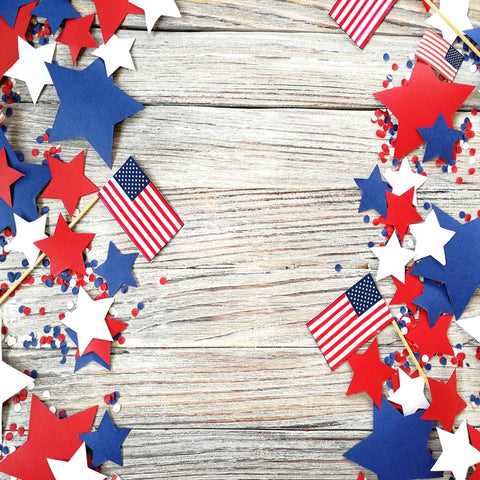 Fox 4 of July American Flag Vinyl Wood Backdrop