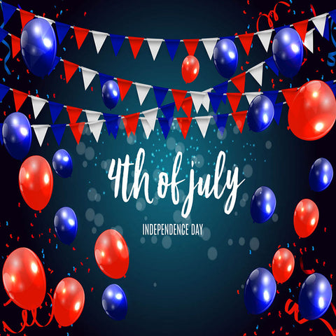 Fox 4 of July Balloons Flag Vinyl Independence Backdrop