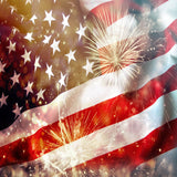Fox 4 of July American Flag Vinyl Firework Backdrop-Foxbackdrop