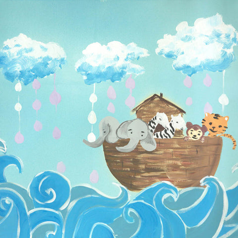 Fox Rolled Nautical Noah's Ark Vinyl Children Backdrop