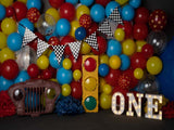Load image into Gallery viewer, Fox Balloons Children Boy Birthday Vinyl Backdrop Design by Kali