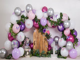 Load image into Gallery viewer, Fox Rolled Purple Balloons Girls Birthday Vinyl Backdrop Designed By Blanca Perez