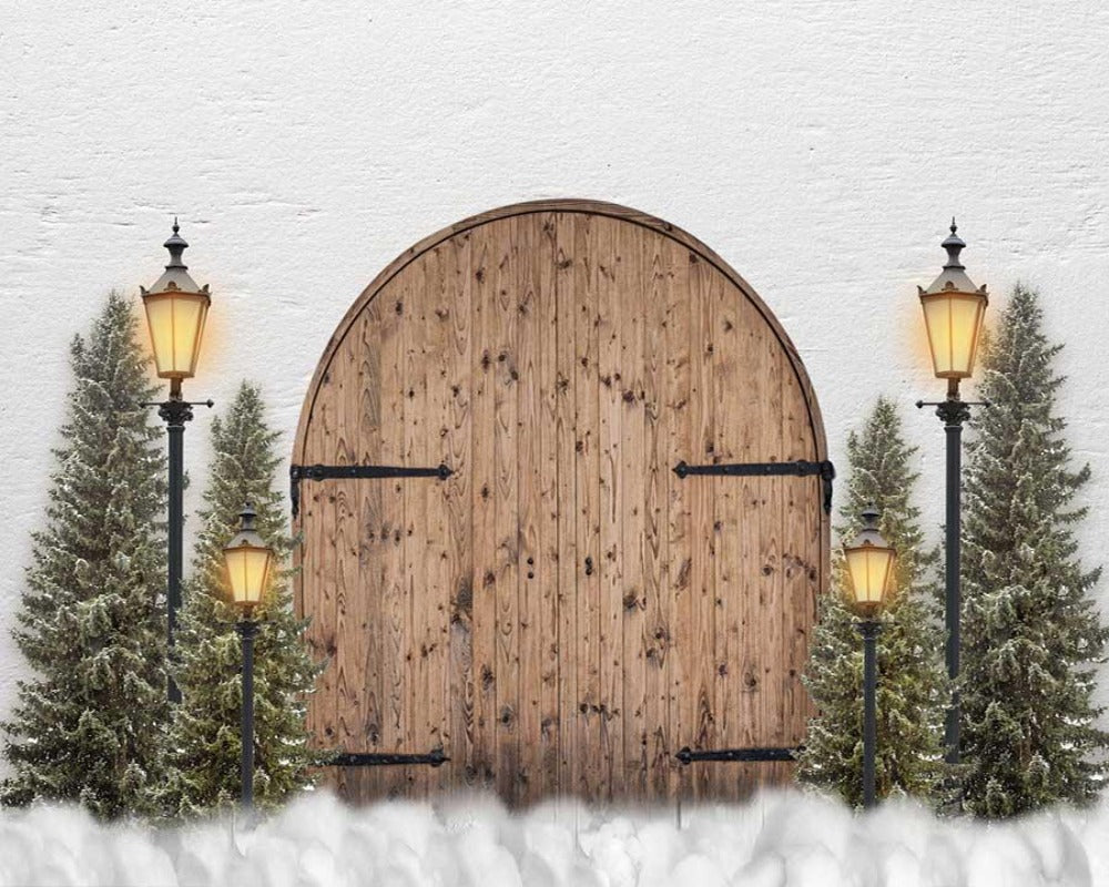 Fox Vinyl Christmas Backdrop with Wood Door Lights