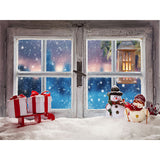 Load image into Gallery viewer, Fox Window Christmas Snowman Gift Vinyl Backdrop
