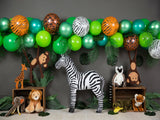 Load image into Gallery viewer, Fox Rolled Wild Animal Zoo Boy Birthday Vinyl Backdrop Designed By Blanca Perez